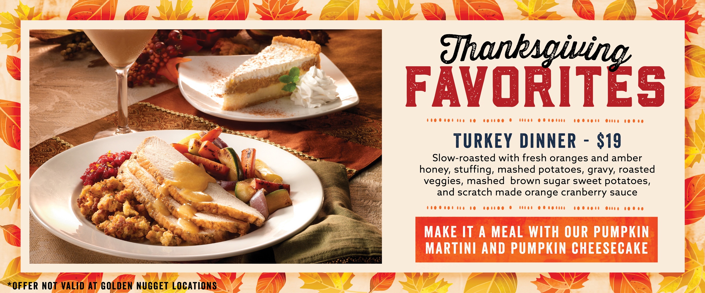Enjoy Thanksgiving Favorites at Claim Jumper