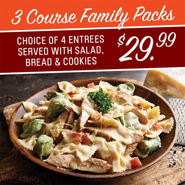 3 Course Carry-out Family Packs from Claim Jumpers